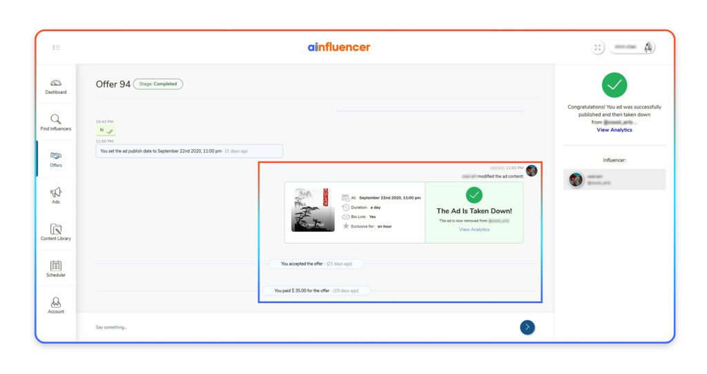 offer chat on Ainfluencer