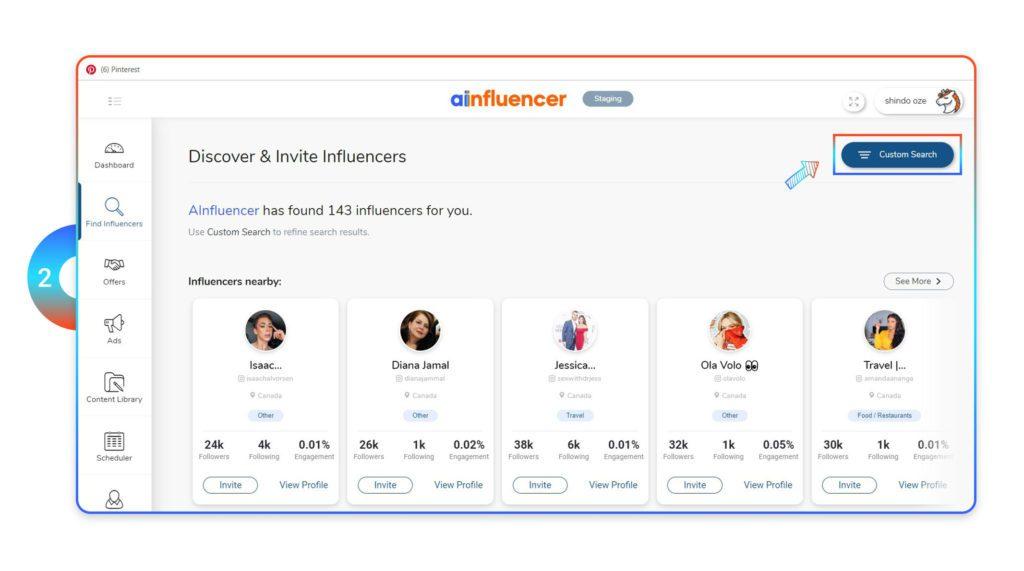 Find custom influencer on Ainfluencer
