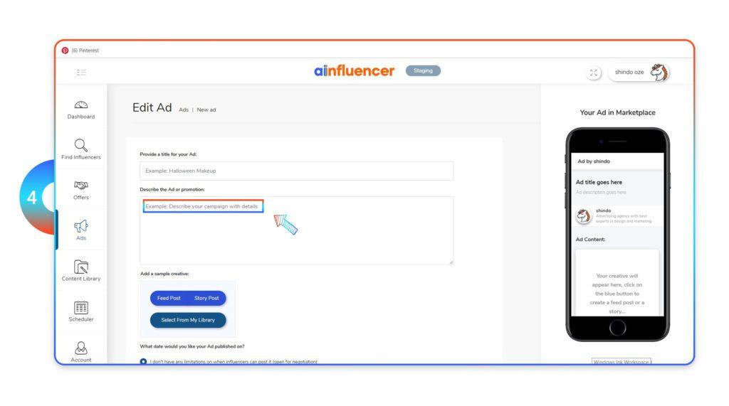 Describe ad on Ainfluencer