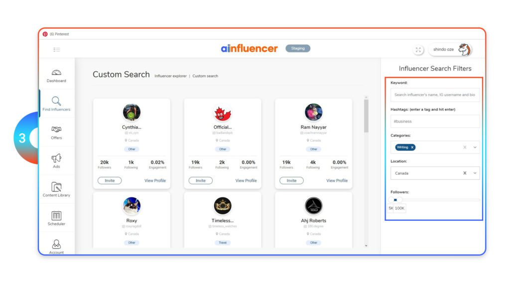 Influencer search filters
