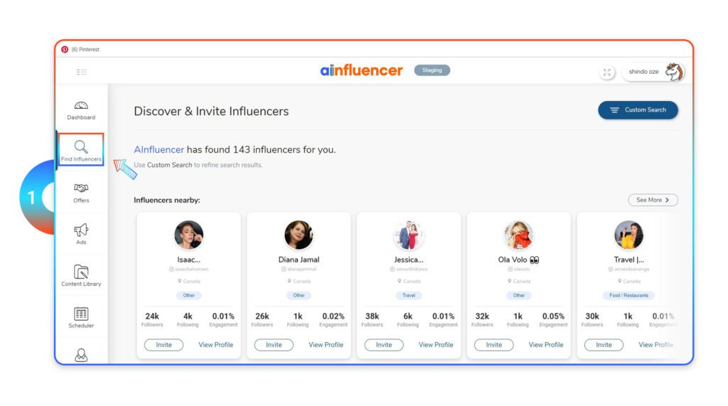 Find influencer on Ainfluencer dashboard