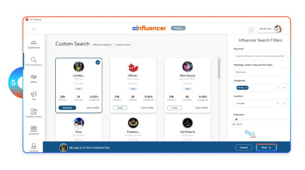 Select your custom influencer