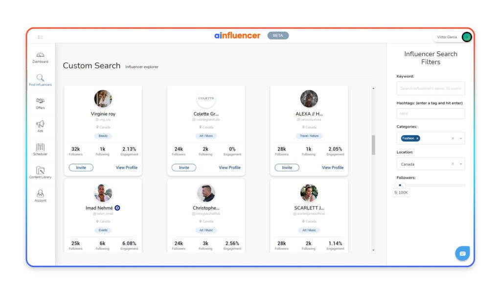 Ainfluencer's platform allows you to search for and find local influencers around you.