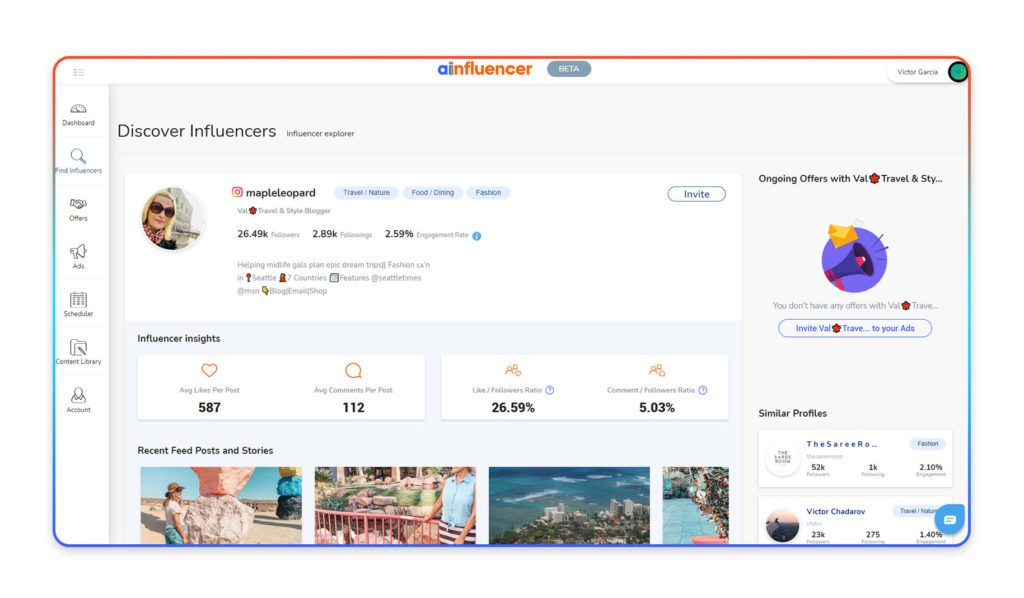 Ainfluencer has made influencer audit easier by showing key insights of every influencer's account on its platform.