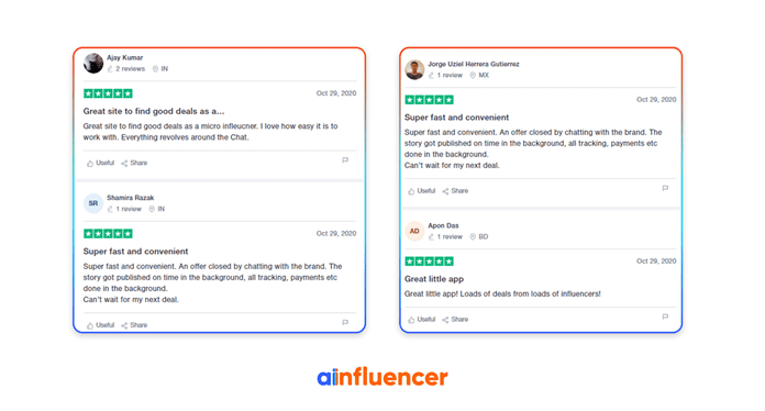 Ainfluencer reviews on Trustpilot